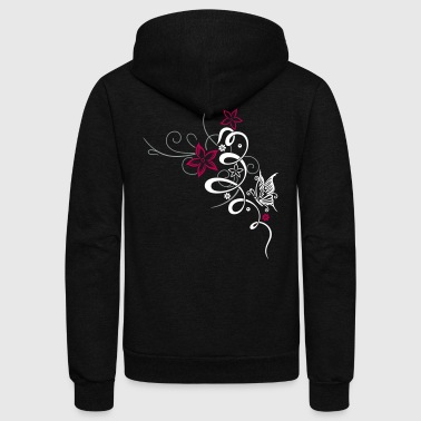 Feminine ornament with butterfly and flowers. - Unisex Fleece Zip Hoodie