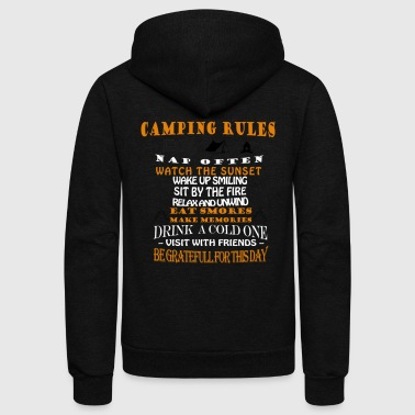 Camping rules nap often watch the sunset wake up s - Unisex Fleece Zip Hoodie