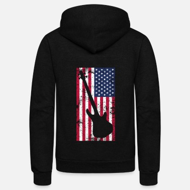 Bass Player AMERICAN FLAG BASS Player patriot Gift idea - Unisex Fleece Zip Hoodie