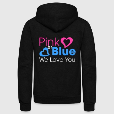 Gender Gender Reveal Shirt | Pink or Blue, Boy or Girl - Unisex Fleece Zip Hoodie