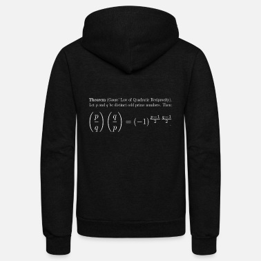 Quadrat Gauss' Law of Quadratic Reciprocity (White text) - Unisex Fleece Zip Hoodie