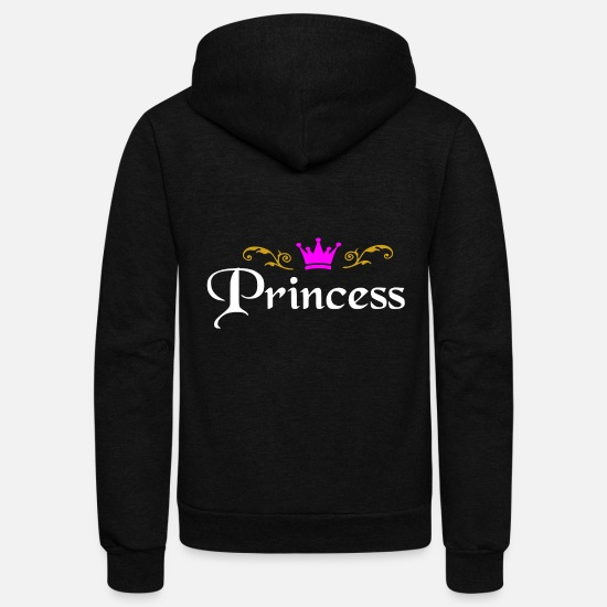 Daughter Hoodies & Sweatshirts - Princess with crown - Unisex Fleece Zip Hoodie black