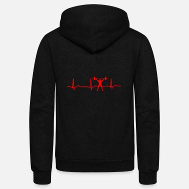 Lifting GIFT - ECG WEIGHT LIFTING RED - Unisex Fleece Zip Hoodie