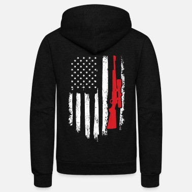 Rifle Hunter Gift Distressed American Flag - Unisex Fleece Zip Hoodie