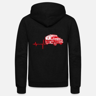 Ambulance shirt gift heartbeat ambulance - Unisex Fleece Zip Hoodie