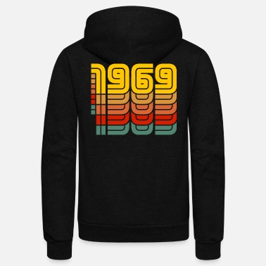 Year Of Birth 1969 Vintage Colorful Year Of Birth - Unisex Fleece Zip Hoodie