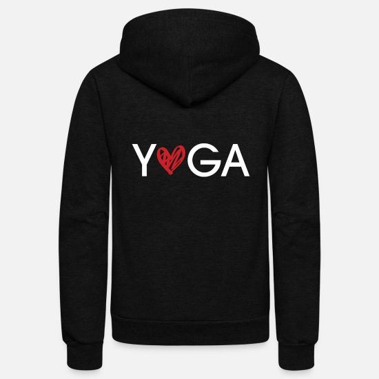 Love Hoodies & Sweatshirts - Yoga Love with Cute Heart - Unisex Fleece Zip Hoodie black