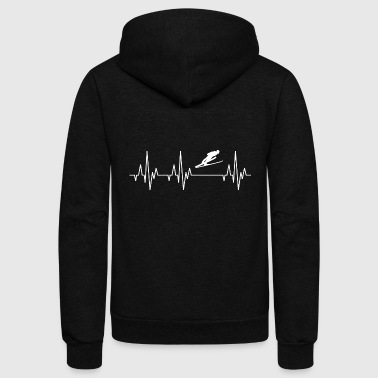 Heartbeat Ski Long Jump Jumping Jumper Skiing - Unisex Fleece Zip Hoodie