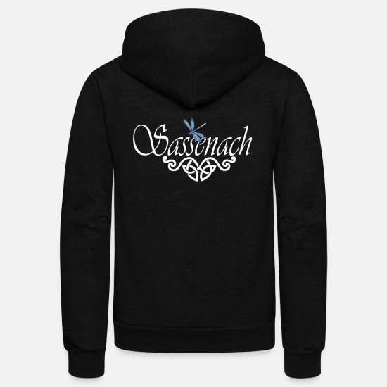 Dragonfly Hoodies & Sweatshirts - Sassenach Blue Dragonfly Outlander Amber Design - Unisex Fleece Zip Hoodie black