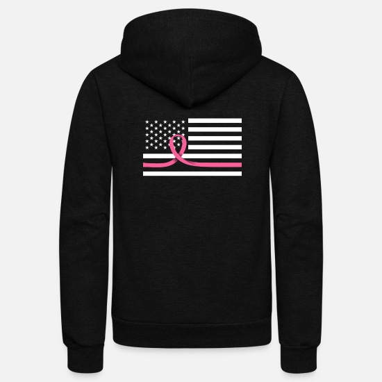 Cancer Hoodies & Sweatshirts - Thin Pink Line Ribbon With American Flag - Unisex Fleece Zip Hoodie black
