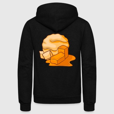 Caramel Icecream Gelato Sundae Summer Sherbet Food - Unisex Fleece Zip Hoodie