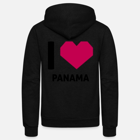 Love Hoodies & Sweatshirts - I Love Panama - Unisex Fleece Zip Hoodie black