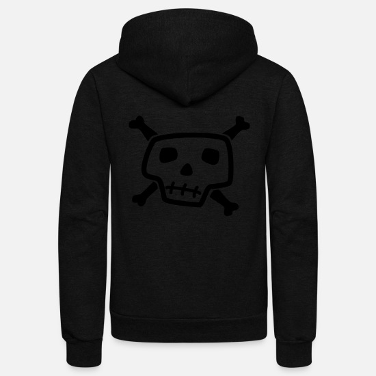Art Hoodies & Sweatshirts - Skull And Bones - Unisex Fleece Zip Hoodie black