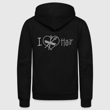 Rhinestone I Love Hair Rhinestone - Unisex Fleece Zip Hoodie
