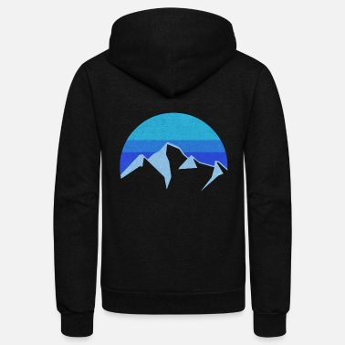 Blue Hue mountain fine line snow blue - Unisex Fleece Zip Hoodie