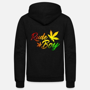 Rude Funny Reggae - Rude Boy - Expression Love Humor - Unisex Fleece Zip Hoodie
