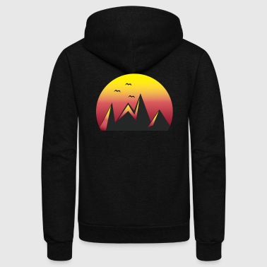 Mountains Sunset Red / sports, climbing, halloween - Unisex Fleece Zip Hoodie