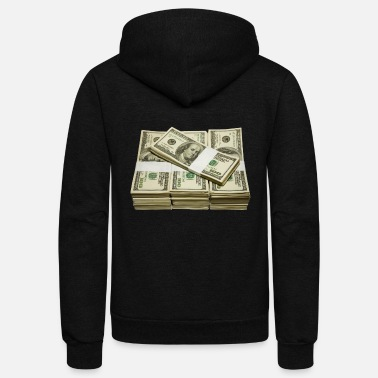 Dollar Cash Stack of Hundred Dollar Bills - Unisex Fleece Zip Hoodie