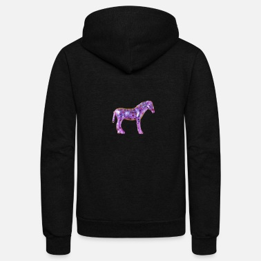 Pony little pink pony with glitter cute small - Unisex Fleece Zip Hoodie