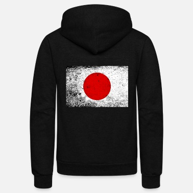 Germany Japanese Flag With Heavy Grunge - Unisex Fleece Zip Hoodie