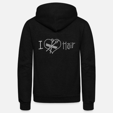 Rhinestones I Love Hair Rhinestone - Unisex Fleece Zip Hoodie