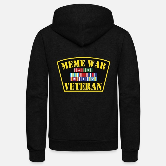 Meme Hoodies & Sweatshirts - Meme War Veteran - Unisex Fleece Zip Hoodie black
