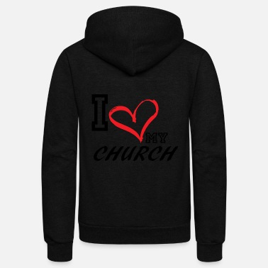 Size I_LOVE_MY_CHURCH - PLUS SIZE FIT - Unisex Fleece Zip Hoodie
