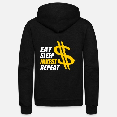 Sleep Eat Trade Repeat Eat sleep invest repeat, Banker, shares - Unisex Fleece Zip Hoodie