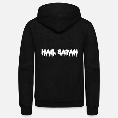 Church Hail Satan Dripping Text - Unisex Fleece Zip Hoodie