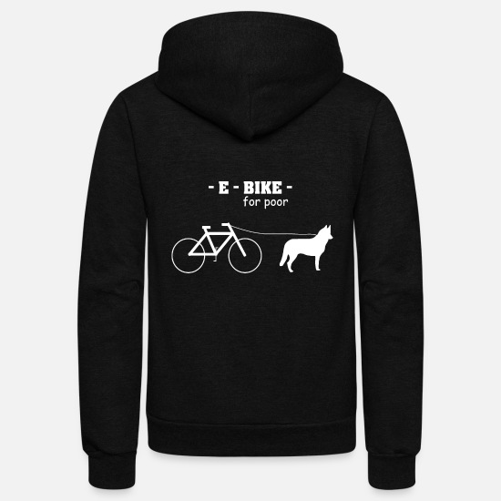 Haha Hoodies & Sweatshirts - E-Bike for poor - Unisex Fleece Zip Hoodie black