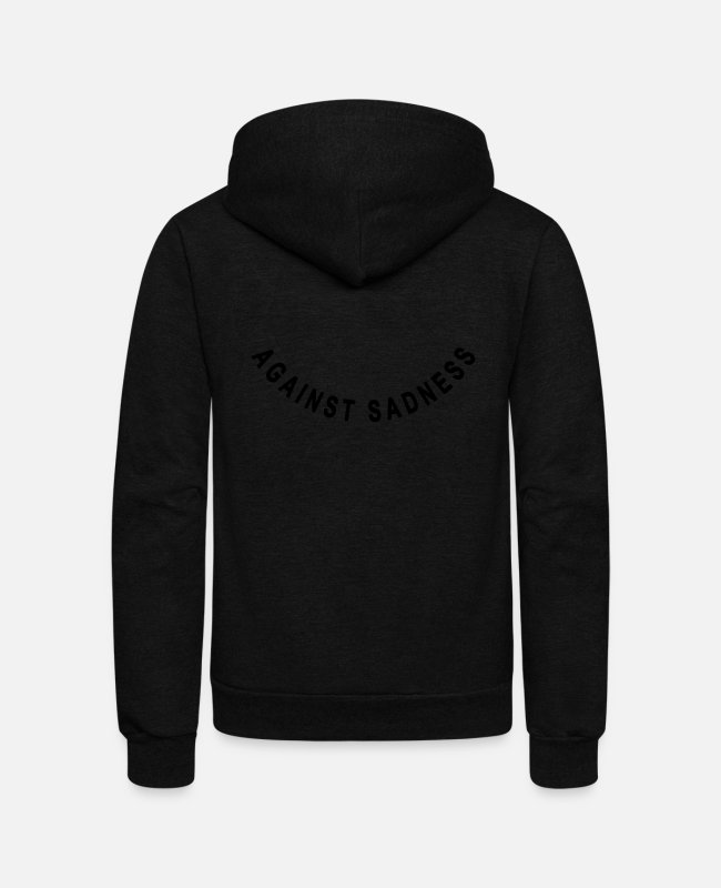 Blessed Hoodies & Sweatshirts - against sadness (smile) - Unisex Fleece Zip Hoodie black