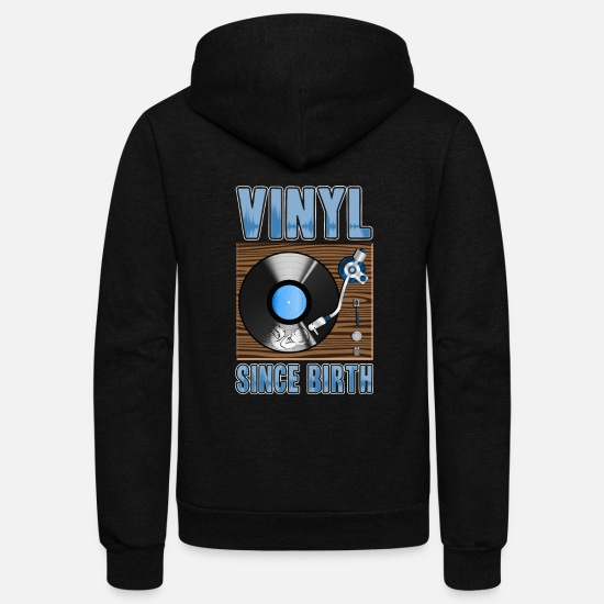 Retro Hoodies & Sweatshirts - Vinyl Since Birth Retro Pride Turntable Record - Unisex Fleece Zip Hoodie black