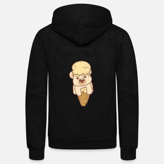 Gift Idea Hoodies & Sweatshirts - Teddy Bear Milk Ice Cream Cone Snack Adorable - Unisex Fleece Zip Hoodie black
