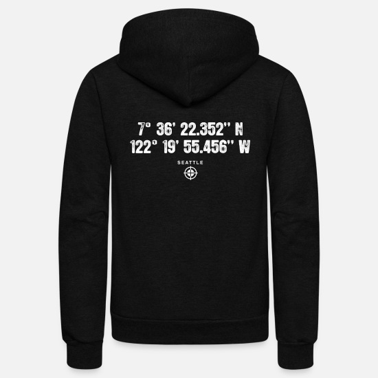 Geography Hoodies & Sweatshirts - Geocaching GPS Seattle USA gift - Unisex Fleece Zip Hoodie black