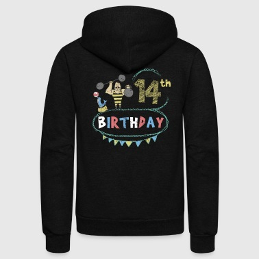 Carnival Theme Strongman 14th Birthday - Unisex Fleece Zip Hoodie