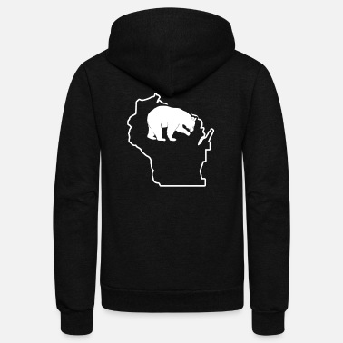 Hunting Dog Black Bear Hunt Wisconsin Bear Hunting Apparel - Unisex Fleece Zip Hoodie