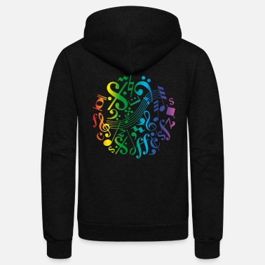 Music Note Colorful music notes and signs - Unisex Fleece Zip Hoodie
