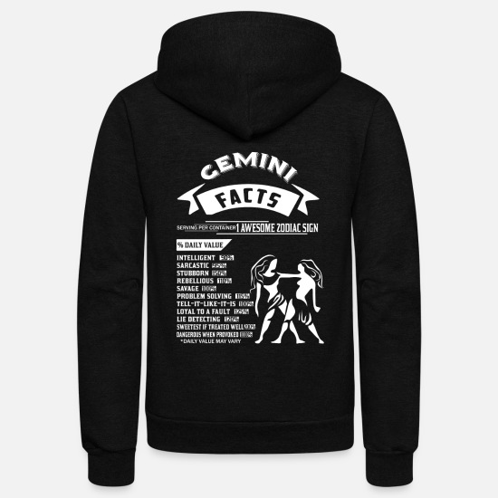 Gemini Hoodies & Sweatshirts - GEMINI FACTS - Unisex Fleece Zip Hoodie black