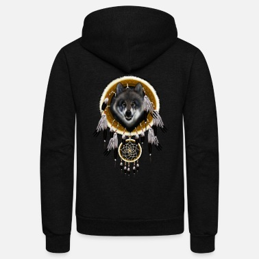 Dream Grey Wolf Dream Catcher TSHIRT - Unisex Fleece Zip Hoodie