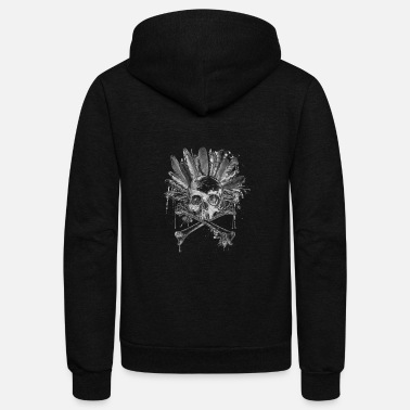 Bird Tribal style gothic skull - Cross bones Collection - Unisex Fleece Zip Hoodie