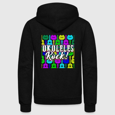 Ukulele AWESOME UKULELES ROCK SHIRT - Unisex Fleece Zip Hoodie