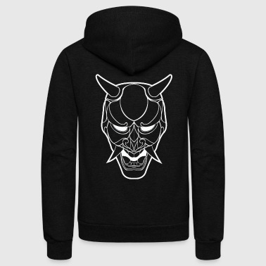 Japanese Demon Mask Line Art - Unisex Fleece Zip Hoodie