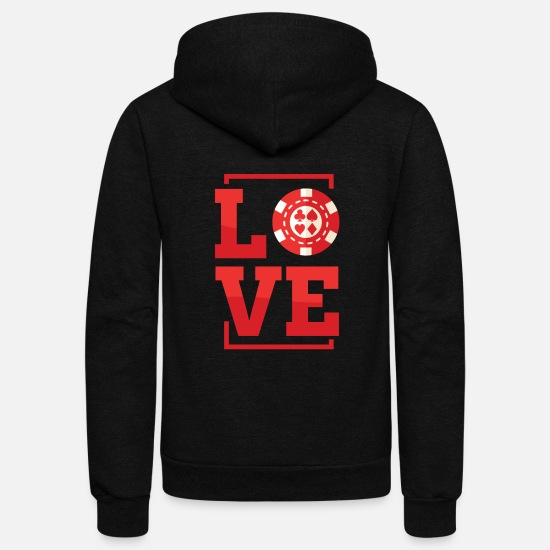 Poker Hoodies & Sweatshirts - Chip Love - Unisex Fleece Zip Hoodie black