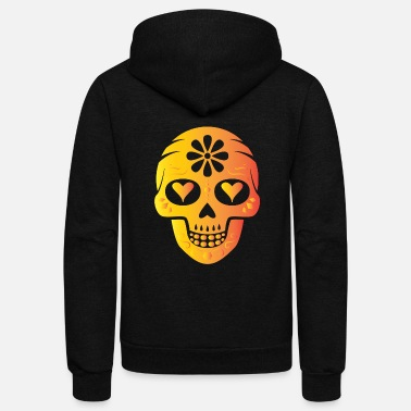 Heart Eyes Sugarskull with heart eyes - Unisex Fleece Zip Hoodie