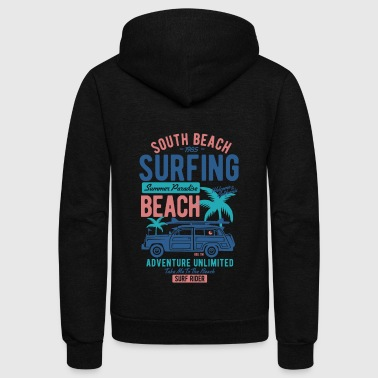 South Beach Surfing Summer - Unisex Fleece Zip Hoodie