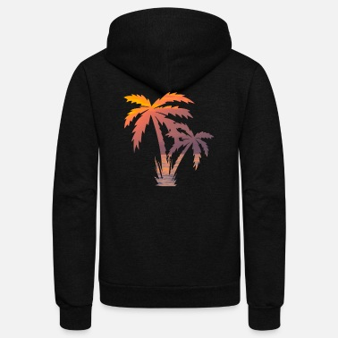 Palm Trees California Palm Tree Sunset - Unisex Fleece Zip Hoodie