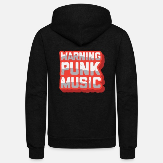Punk Rock Hoodies & Sweatshirts - Attention Punk Music - Unisex Fleece Zip Hoodie black