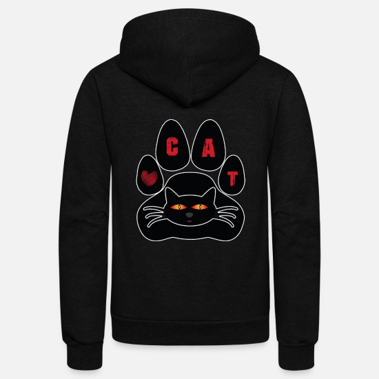 Love Hoodies & Sweatshirts - Cat - Unisex Fleece Zip Hoodie black