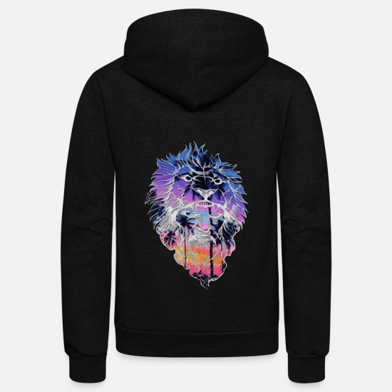 Art Hoodies & Sweatshirts - Pop Art Comic Lion Portrait T-Shirt - Unisex Fleece Zip Hoodie black