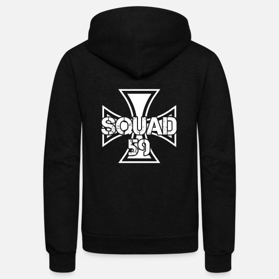 Rocker Hoodies & Sweatshirts - Biker paintball motorrad squad team team club 59 - Unisex Fleece Zip Hoodie black